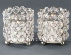 candle holder crystal cylinder small